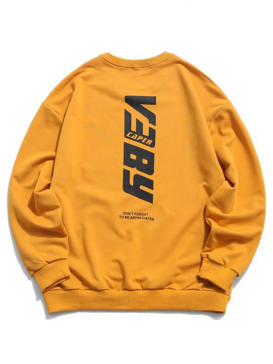 Buchstabe Druck Basik Sweatshirt - Orange Gold 2XL