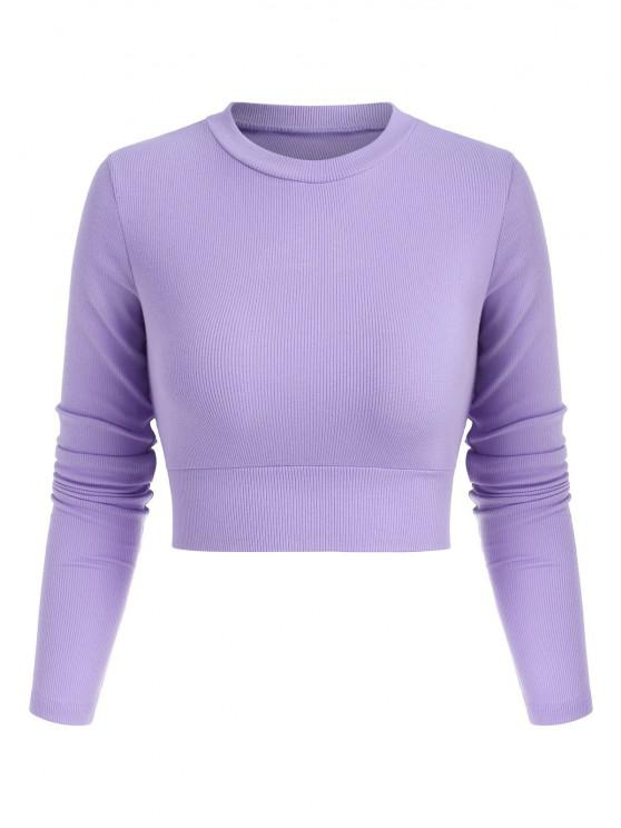 fashion Ribbed Tie Cut Out Back Cropped Tee - LIGHT PURPLE S