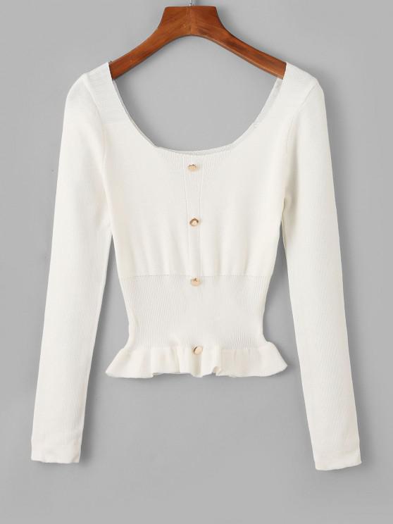 Mock Button Peplum Scoop Neck Sweater - أبيض حجم واحد
