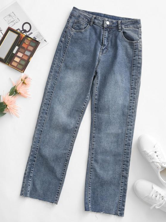 fancy Raw Cut Hem Pocket High Rise Mom Jeans - DEEP BLUE XL