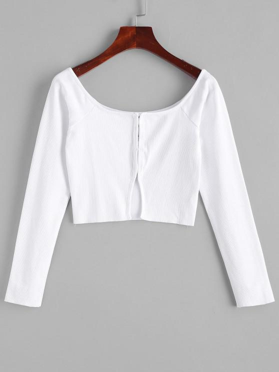 outfits Ribbed Hook-and-Eye Cropped Tee - MILK WHITE M