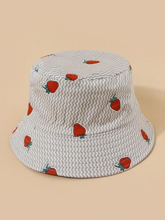 fashion Strawberry Print Reversible Bucket Hat - MULTI-A