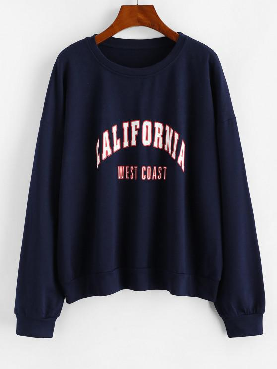 new Letter Graphic Drop Shoulder French Terry Sweatshirt - DEEP BLUE S