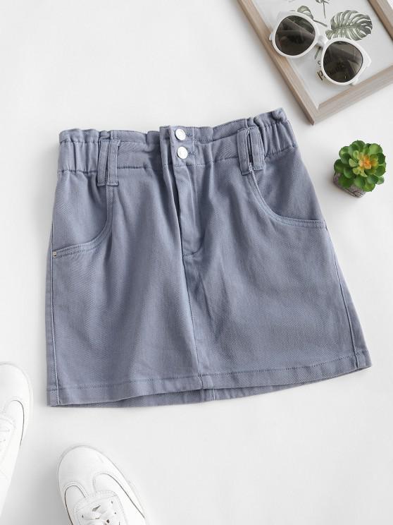 chic Solid Denim Paperbag Skirt - BLUE GRAY L
