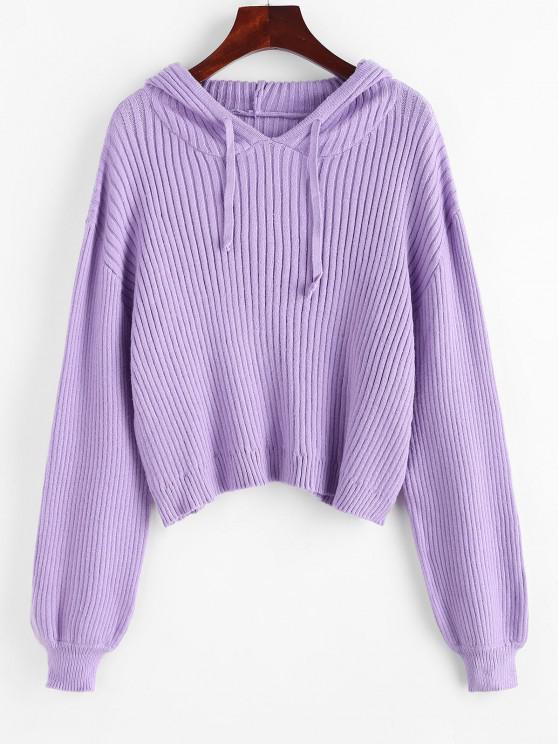 Solid Drawstring Lantern Sleeve Sweater - ضوء ارجواني S