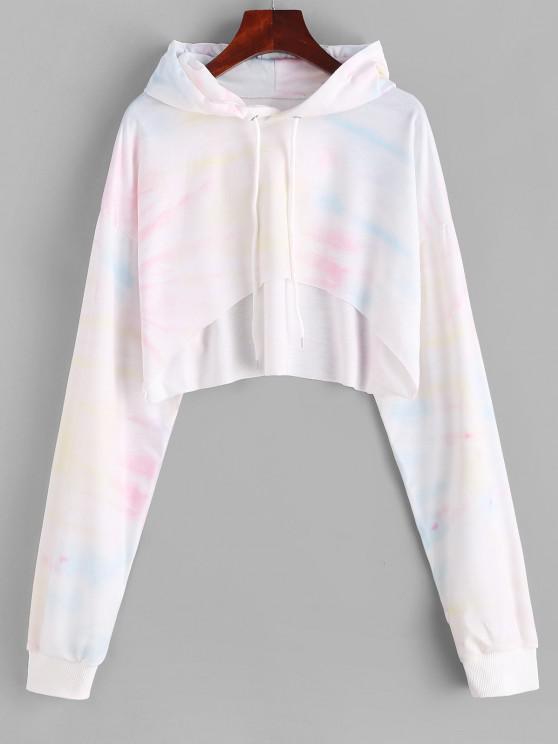 High Low Tie Dye Cropped Hoodie - الأبيض الدافئ S