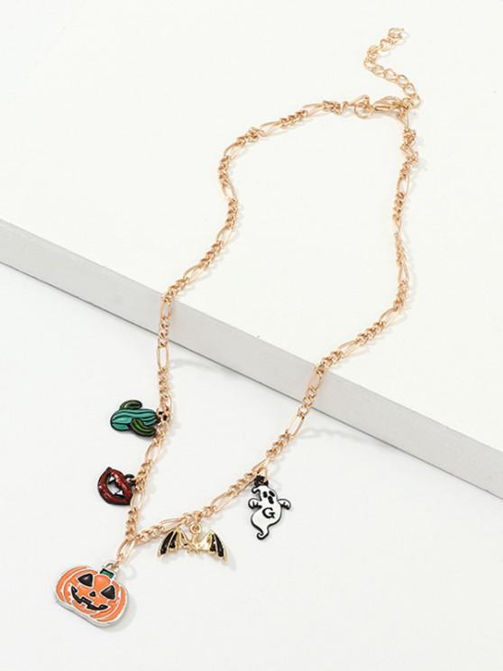 Halloween Pumpkin Bat Cactus Charm Necklace - ذهبي
