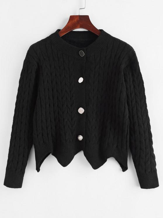 Cable Knit Button Up Angled Hem Cardigan - أسود حجم واحد