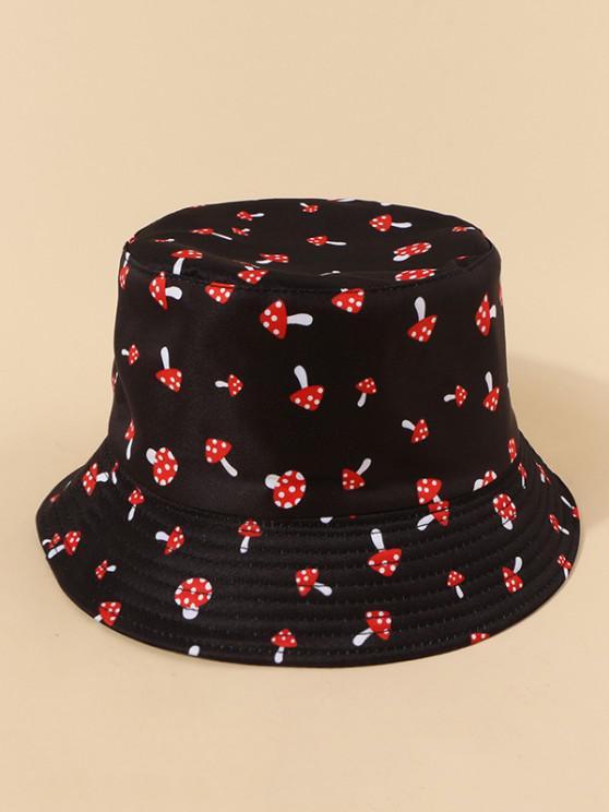 Sombrero de Cubo Cubo Convertible Estampado Setas - Negro