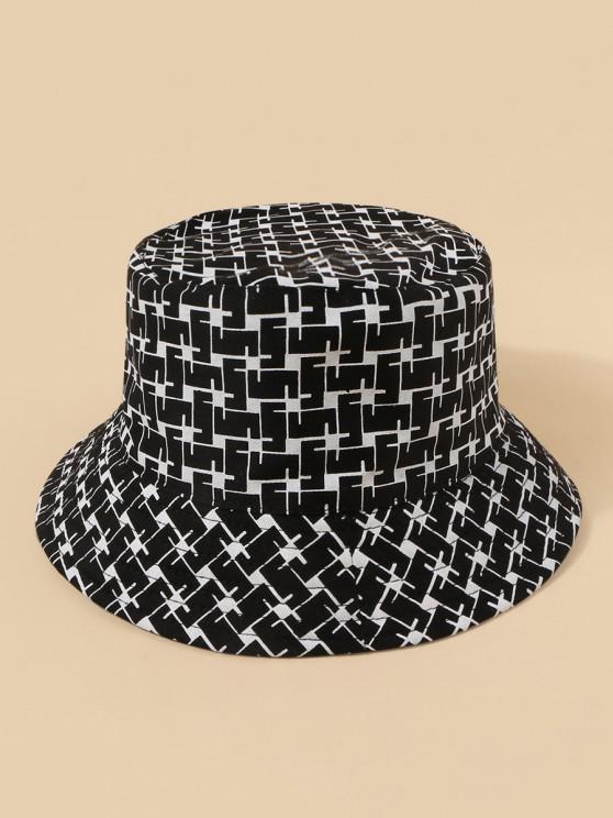 women Plaid Pattern Convertible Bucket Hat - BLACK