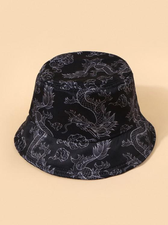 ladies Chinese Style Dragon Print Casual Bucket Hat - BLACK