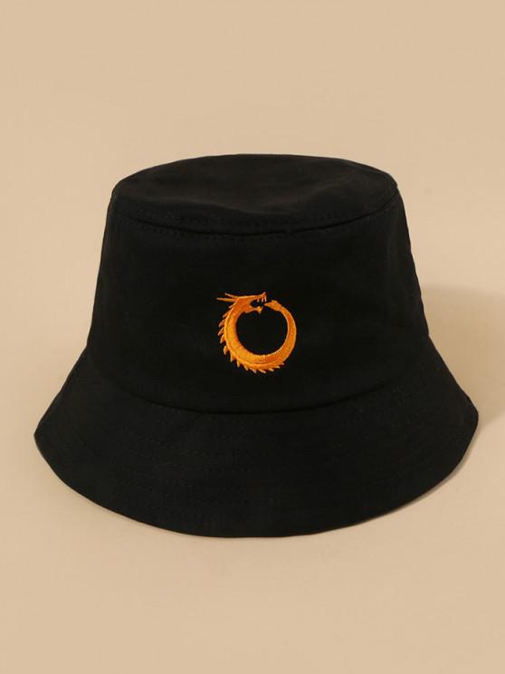 best Chinese Dragon Embroidery Bucket Hat - BLACK