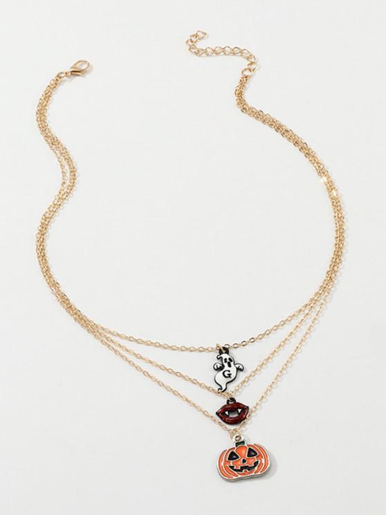 Halloween Pumpkin Ghost Shape Layered Necklace - ذهبي