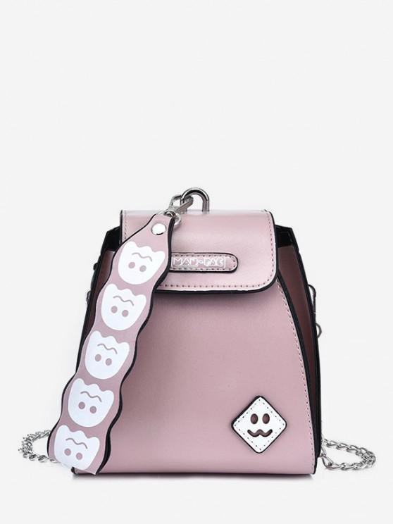 sale Cute Ghost Pattern Leather Mini Tote Bag - LIGHT PINK