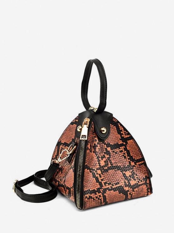 affordable Snakeskin Pattern Zipper Handbag - COFFEE