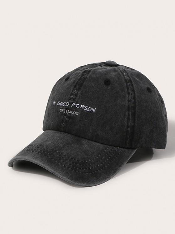 shop Small Letter Embroidery Baseball Cap - BLACK
