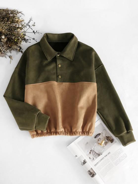 Snap Button Two Tone Faux Suede Sweatshirt - Dark Goldenrod XL