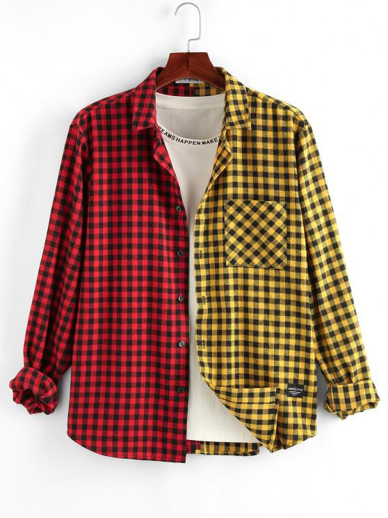 trendy ZAFUL Two Tone Plaid Pocket Patch Shirt - MULTI S