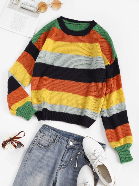 Colorblock Striped Sweater - متعدد حجم واحد