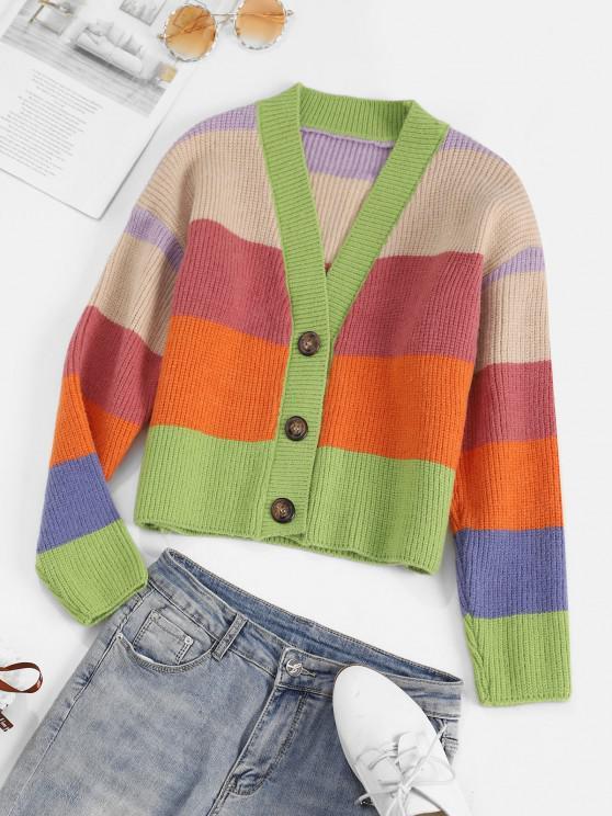 fashion Colorblock Striped Cardigan - MULTI ONE SIZE