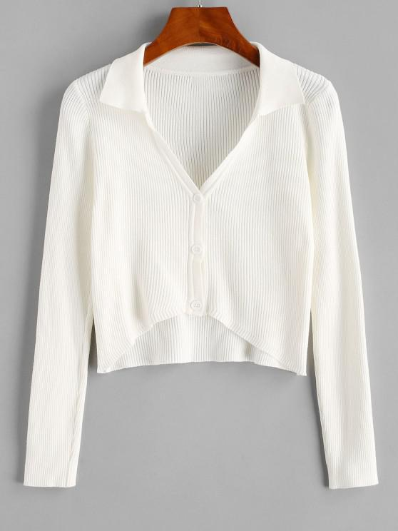 chic Ribbed V Notch High Low Crop Cardigan - MILK WHITE S
