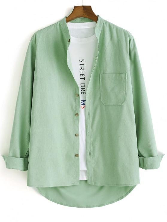 shops High Low Solid Pocket Patch Long Sleeve Shirt - LIGHT GREEN 3XL