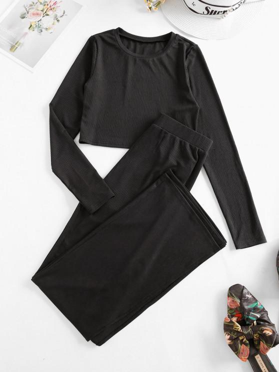 ZAFUL Rib Knit Side Slit Two Piece Pants Set - أسود M
