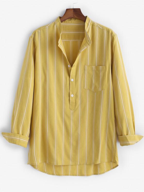 fashion High Low Striped Half Button Pocket Patch Shirt - YELLOW XL