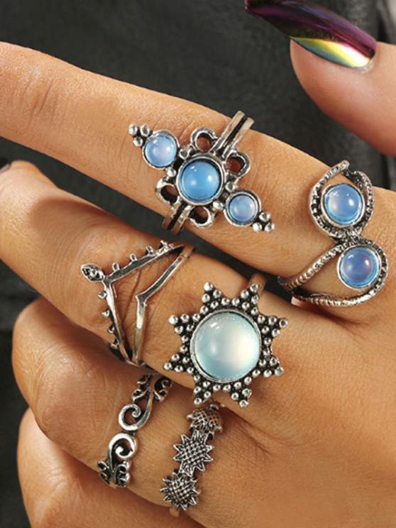 lady 6Pcs Floral Faux Opal Ring Set - SILVER