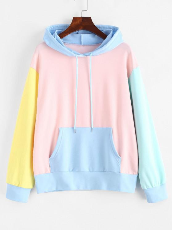women Drawstring Kangaroo Pocket Colorblock Hoodie - MULTI M