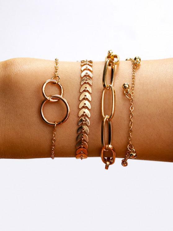 shops Circles Leaves Shape Bracelets Set - GOLDEN