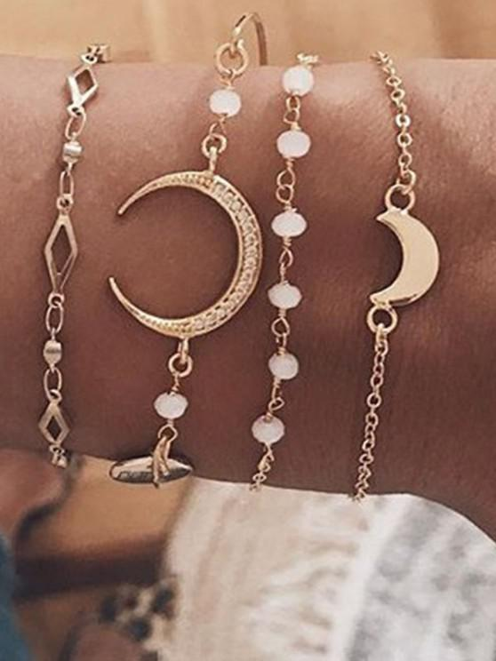 latest Crescent Geometric Shape Bracelets Set - GOLDEN