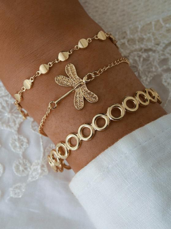 trendy Dragonfly Shape Bracelets Set - GOLDEN
