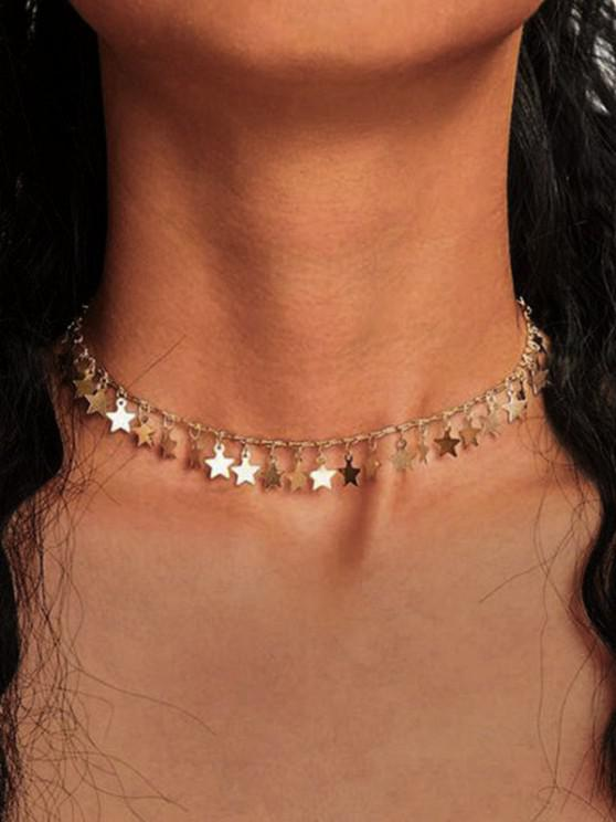 fancy Stars Alloy Charm Necklace - GOLDEN