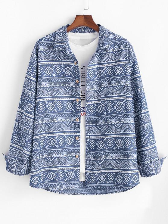 outfits Tribal Geometric Pattern Pocket Patch Long Sleeve Shirt - BLUE L