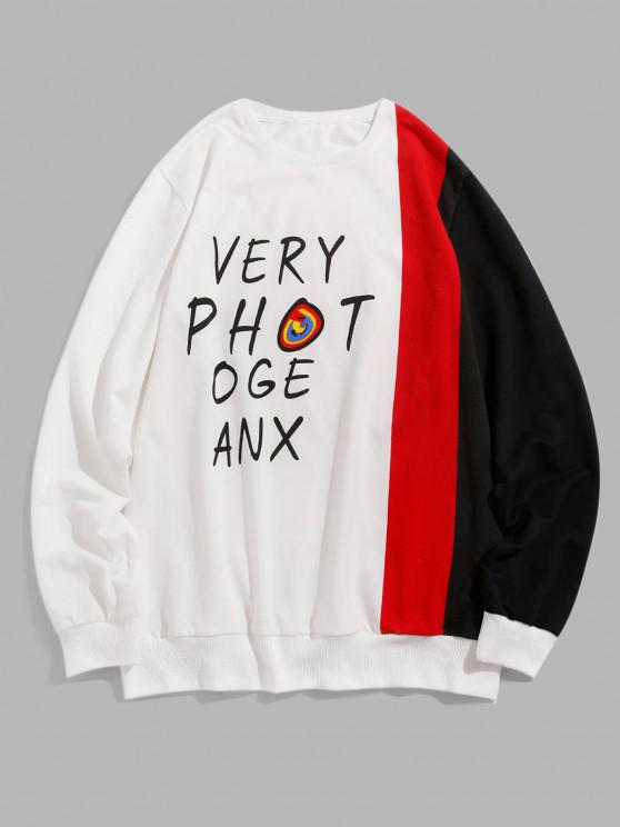 outfit ZAFUL Letter Print Colorblock Panel Sweatshirt - WHITE S