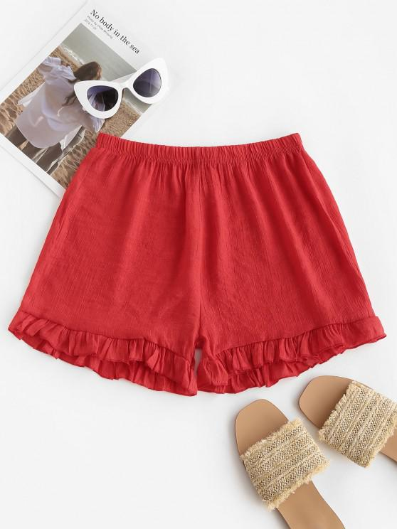 unique Semi-sheer Ruffled Beach Shorts - RED ONE SIZE