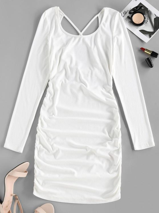 trendy ZAFUL Ribbed Crisscross Ruched Bodycon Dress - WHITE S
