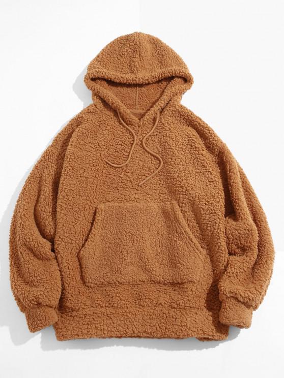 lady Fluffy Solid Kangaroo Pocket Hoodie - DEEP YELLOW 2XL