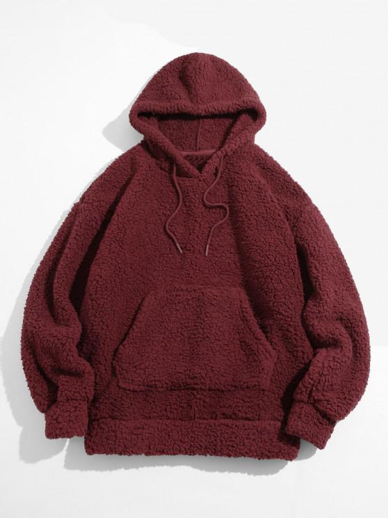 Fluffy Solid Kangaroo Pocket Hoodie - أحمر عميق L