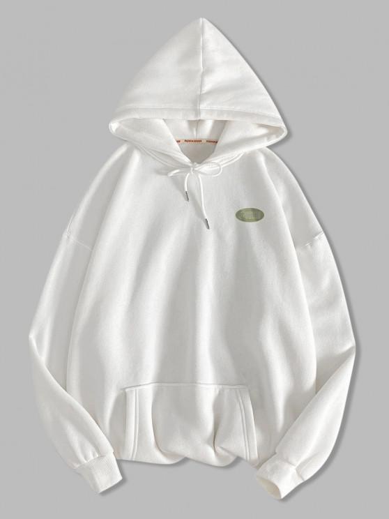 Moletom Gráfico do Bolso do Canguru da Letra do Canguru - Branco XL