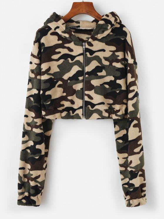 Hooded Camo Fleece Crop Jacket - ديب غرين S