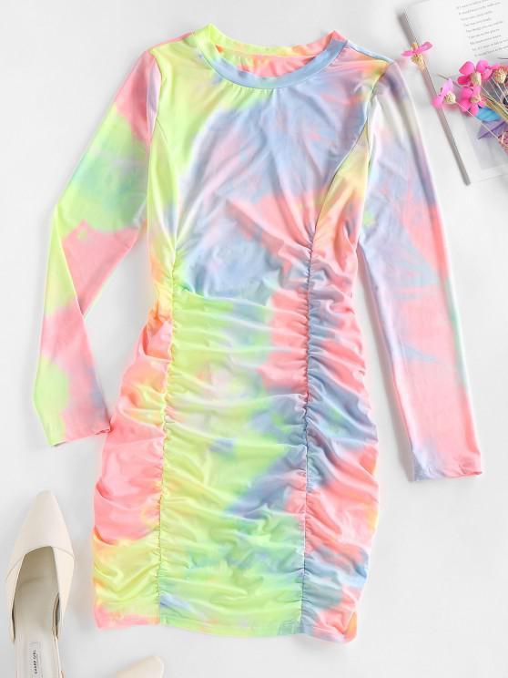 trendy ZAFUL Tie Dye Ruched Bodycon Mini Dress - MULTI L