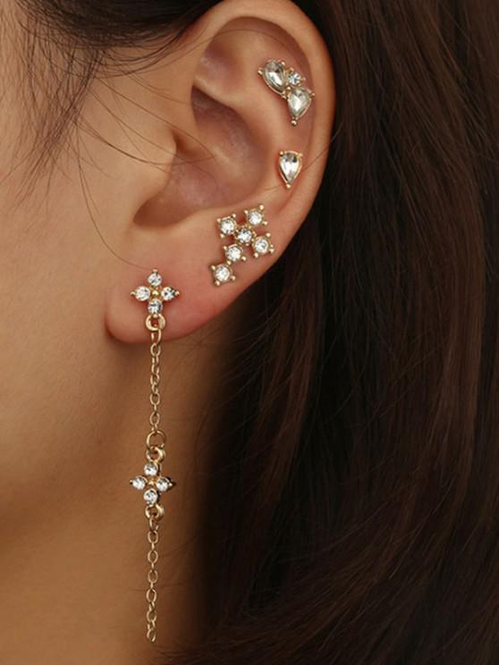 hot 4 Piece Rhinestone Stud and Long Drop Earrings Set - GOLDEN