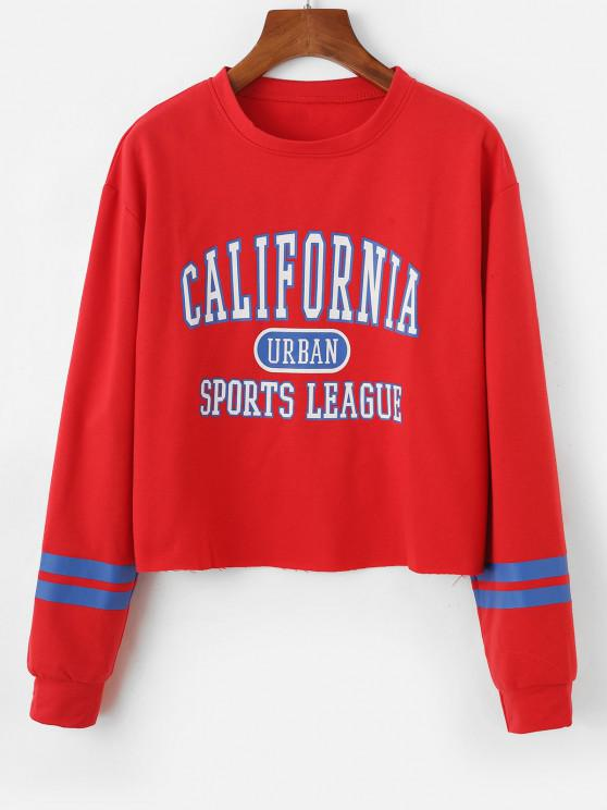 outfits Stripes Panel Raw Hem CALIFORNIA Graphic Sweatshirt - RED L