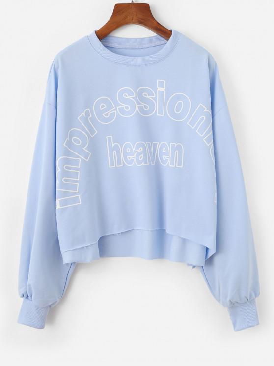 Oversized Impressionism Heaven Graphic Sweatshirt - أزرق فاتح XL