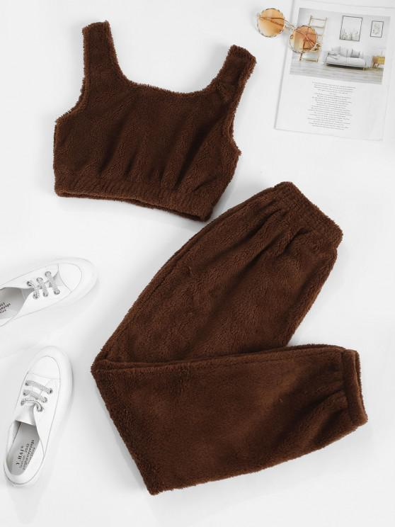 chic Lounge Fluffy Two Piece Pants Set - DEEP COFFEE L