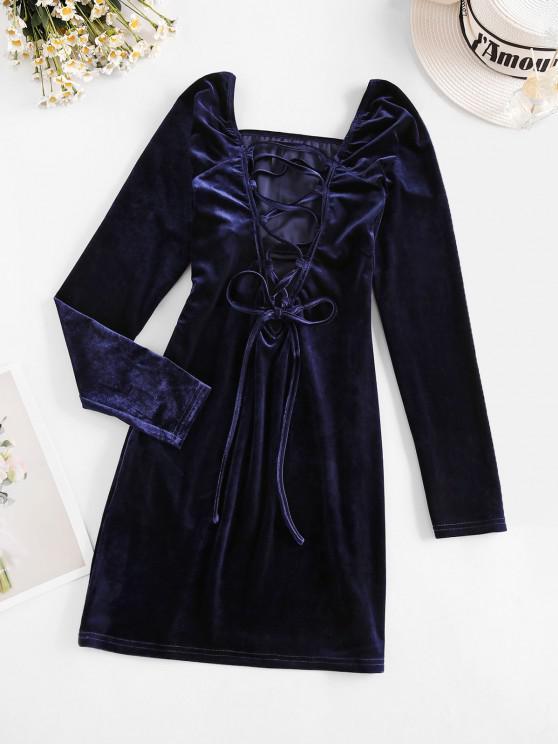 womens ZAFUL Lace Up Ruched Bust Velvet Mini Dress - DEEP BLUE L