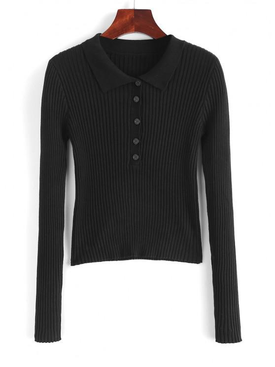 hot Ribbed Button Front Fitted Knitwear - BLACK M