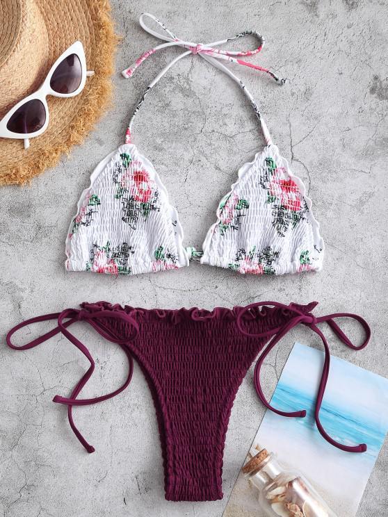 ZAFUL Halter Floral Smocked Tie String Bikini Swimwear - فطيرة بلوم S